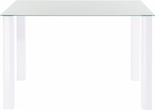 LifestyleDesign Como Essgruppe, 160 x 76 x 90cm, MDF Gestell, Glasplatte 8 mm, Hochglanz weiß lackiert