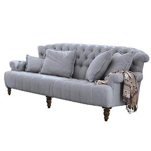 Loberon Sofa Springfield Village, Kiefernholz, Bezug: 54% Viskose, 28% Leinen, 18% Polyester, H/B/T ca. 95/218/114 cm, graublau