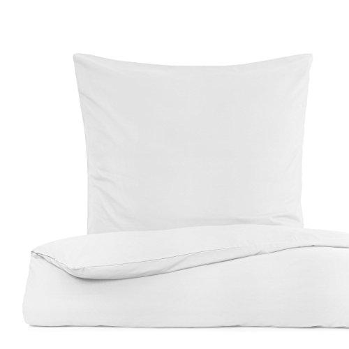 Lumaland Premium Bettwäsche Everyday Ganzjahres Bettbezug mit YKK Reißverschluss 200x200cm & 2 Kissenbezüge 80x80cm Weiß