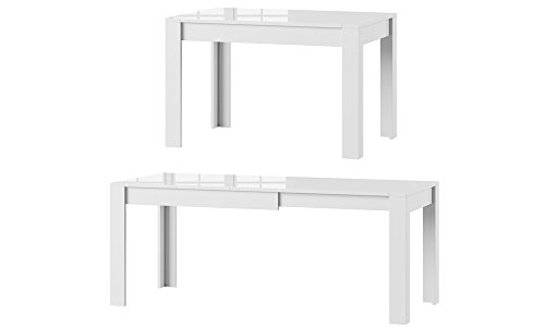 MPS praktisch Tisch SYRIUS 120-190 x 80 x 76 cm (L x B x H) im Weiß Hochglanz für Esszimmer, 4-8 Personen Esstisch mit ausziehbarer Tischplatte auf 190 cm, ausziehbar Küchentisch, Esszimmertisch, Ausziehtisch