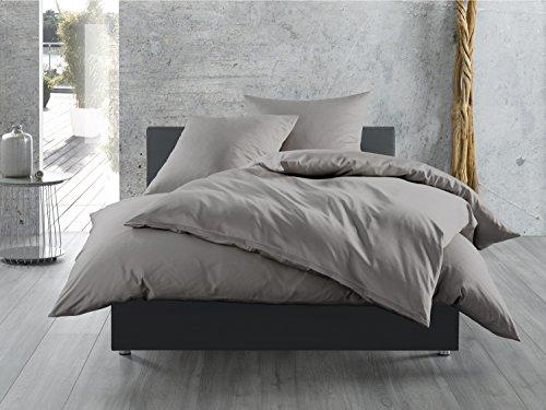 Mako-Satin Baumwollsatin Bettwäsche Uni einfarbig zum Kombinieren (Bettbezug 155 cm x 220 cm, Dunkelgrau) viele Farben & Größen