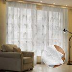 Masterein Feder gestickte Voile Vorhänge für Wohnzimmer Schlafzimmer Gardinen Tüll Fenster Gardinen Stoff drapiert Weiß 1x2.5m