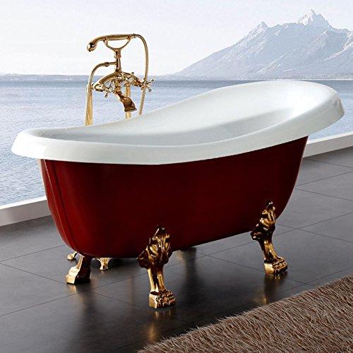 Möbelcreative Freistehende Design Badewanne Nostalgie inkl. Ab- und Überlauf mit Armatur rot gold
