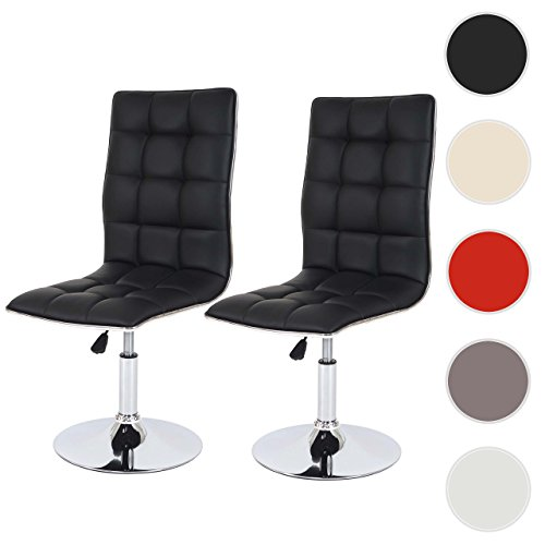 Mendler 2X Esszimmerstuhl HWC-C41, Stuhl Küchenstuhl, höhenverstellbar drehbar, Kunstleder ~ schwarz