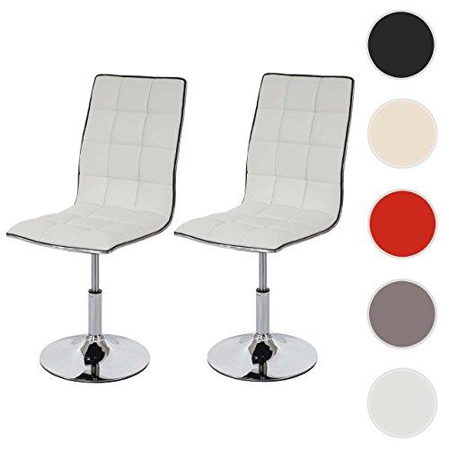 Mendler 2X Esszimmerstuhl HWC-C41, Stuhl Küchenstuhl, höhenverstellbar drehbar, Kunstleder ~ weiß