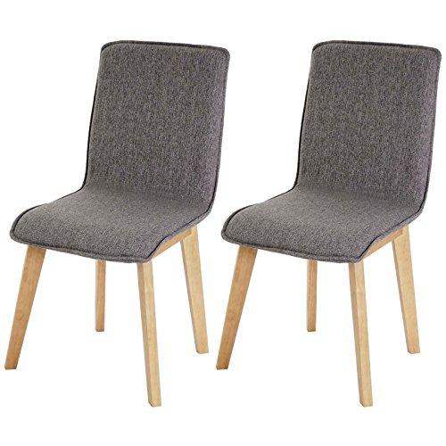 Mendler 2X Esszimmerstuhl Zadar, Stuhl Küchenstuhl, Retro 50er Jahre Design, Stoff/Textil ~ grau ohne Naht