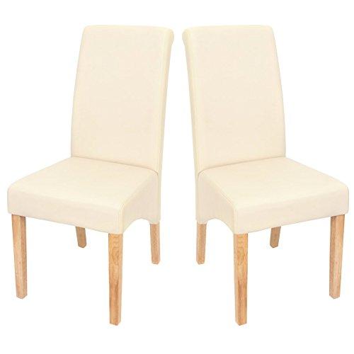 Mendler 2X Esszimmerstuhl Küchenstuhl Stuhl M37 ~ Kunstleder matt, Creme, helle Füße