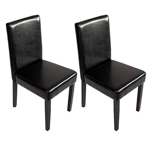 Mendler 2X Esszimmerstuhl Stuhl Küchenstuhl Littau ~ Kunstleder, schwarz, dunkle Beine