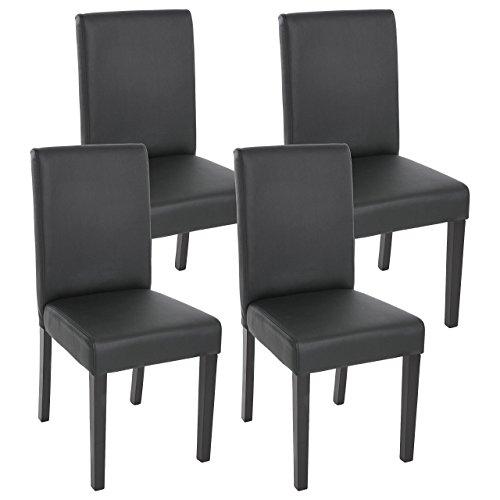Mendler 4X Esszimmerstuhl Stuhl Küchenstuhl Littau ~ Kunstleder, schwarz matt, dunkle Beine