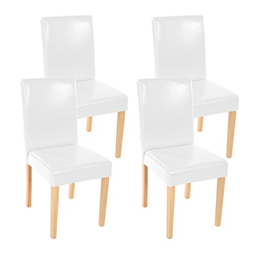 Mendler 4x Esszimmerstuhl Stuhl Lehnstuhl Littau ~ Kunstleder, weiß helle Beine