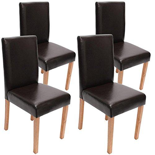 Mendler 4X Esszimmerstuhl Stuhl Küchenstuhl Littau ~ Leder, braun helle Beine
