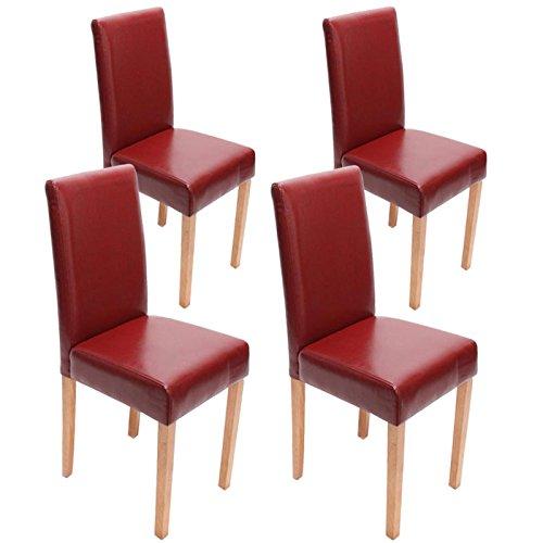 Mendler 4x Esszimmerstuhl Stuhl Lehnstuhl Littau ~ Leder, rot helle Beine
