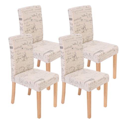 Mendler 4x Esszimmerstuhl Stuhl Lehnstuhl Littau ~ Textil mit Schriftzug, creme, helle Beine