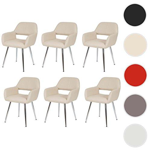 Mendler 6X Esszimmerstuhl HWC-A50, Stuhl Küchenstuhl, Retro, Kunstleder ~ Creme
