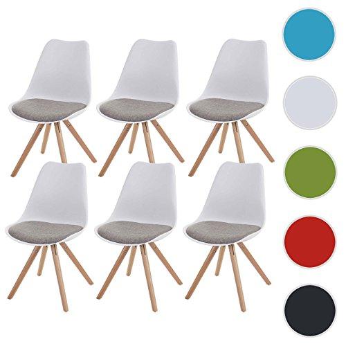 Mendler 6X Esszimmerstuhl Malmö T501, Retro Design ~ Weiß, Sitzfläche Textil Grau, Helle Beine