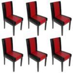 Mendler 6X Esszimmerstuhl Stuhl Küchenstuhl Littau ~ Kunstleder, schwarz-rot, dunkle Beine