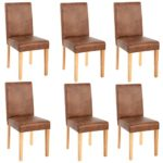 Mendler 6X Esszimmerstuhl Stuhl Küchenstuhl Littau ~ Textil, Wildlederimitat, helle Beine