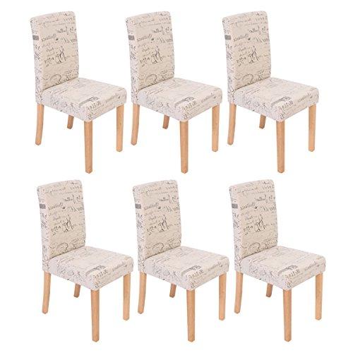 Mendler 6X Esszimmerstuhl Stuhl Küchenstuhl Littau ~ Textil mit Schriftzug, Creme, helle Beine