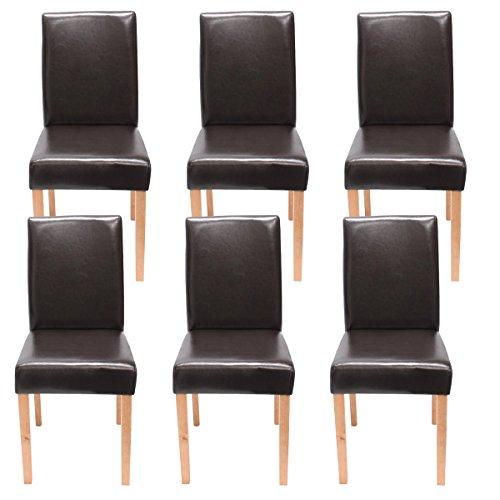 Mendler 6X Esszimmerstuhl Stuhl Küchenstuhl Littau ~ Kunstleder, braun, helle Beine