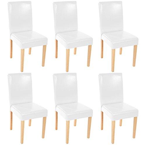 Mendler 6X Esszimmerstuhl Stuhl Küchenstuhl Littau ~ Kunstleder, weiß, helle Beine