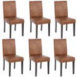 Mendler 6X Esszimmerstuhl Stuhl Küchenstuhl Littau ~ Textil, Wildlederimitat dunkle Beine