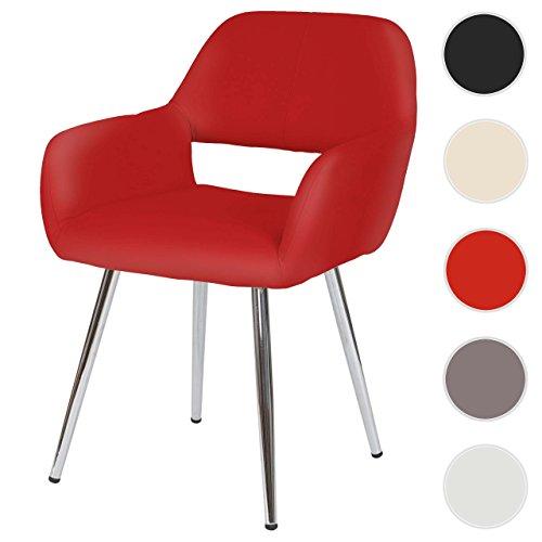 Mendler Esszimmerstuhl HWC-A50, Stuhl Küchenstuhl, Retro, Kunstleder ~ rot