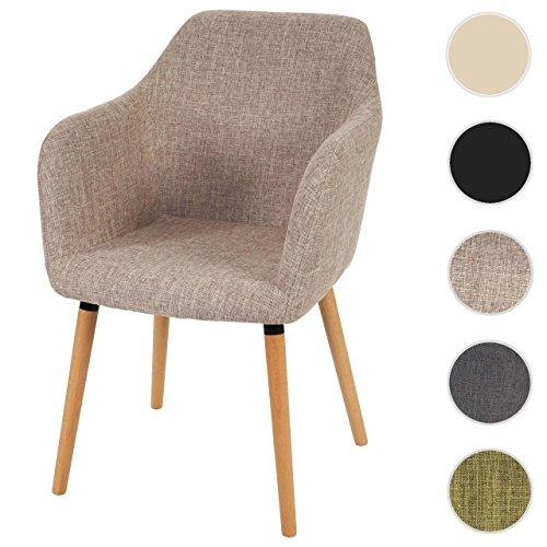 Mendler Esszimmerstuhl Malmö T381, Stuhl Küchenstuhl, Retro 50er Jahre Design ~ Textil, Creme/grau, helle Beine