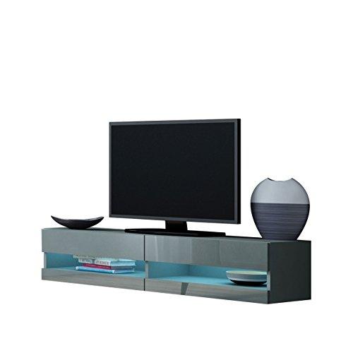 Mirjan24  TV Board Vigo New 140, TV Tische, TV Lowboard, TV Schrank, Fernsehschrank, Hängeschrank, Hochglanz (mit Blauer LED Beleuchtung, Grau/Grau Hochglanz)