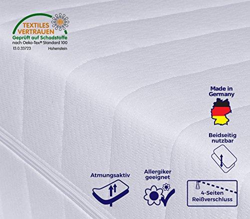 Mister Sandman 7-Zonen Härtegrad H2 H3 (Weiß) Matratze, Orthopädische Kaltschaummatratze, Rollmatratze, Öko-Tex, Bezug waschbar, 4-Seiten-Reißverschluss