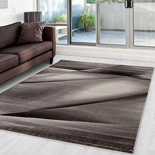 Modern Designer Teppich Abstrakt Wellen Linien Schatten Muster Braun Beige - 200x290 cm