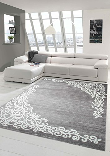 Moderner Teppich Designer Teppich Orientteppich mit Glitzergarn Wohnzimmer Teppich mit Floral Muster Meliert in Grau…