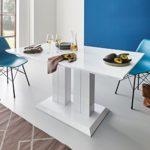 Moebella® Hochglanz Esstisch Tisch MARBELLA 120x80cm Lack Weiss Säulentisch