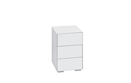 Nachtkommode Nachttisch MAJA in Weißglas matt mit Schubladen 40,7x60,1x46,2cm Boxspringbett-Nachtschrank