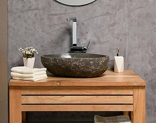 wohnfreuden Waschbecken aus Stein natürlich ca 40 cm Naturstein in Bad WC Garten mit Unikatauswahl nach dem Kauf aus…