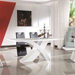 Nolana Esszimmertisch 180x90 / Esstisch / Tisch / Designertisch / Massivholz / Hochglanz - weiß