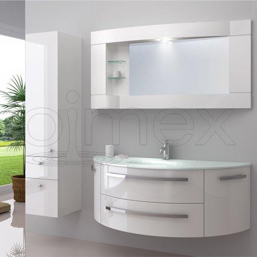 """OimexGmbH Design Badmöbel Set """"Côte d'Azur"""" Weiß Hochglanz Waschtisch 120cm inkl. Seitenschrank Armatur und Spiegel Badezimmermöbel Set mit Glas Waschbecken"""