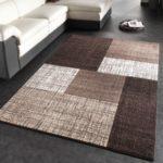 PHC Designer Teppich Modern Kariert Kurzflor Teppich Design Meliert In Braun Creme