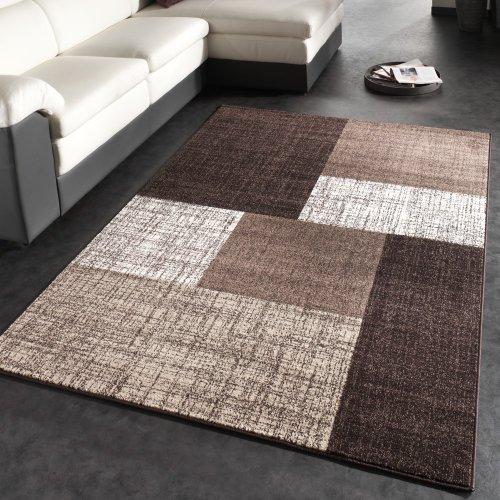 Paco Home Designer Teppich Modern Kariert Kurzflor Teppich Design Meliert In Braun Creme, Grösse:120x170 cm