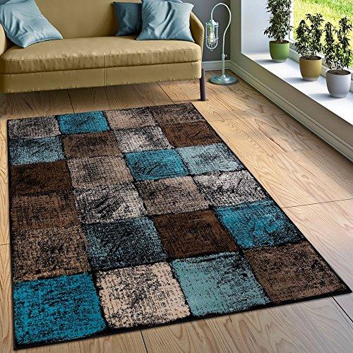 Paco Home Designer Teppich Wohnzimmer Ausgefallene Farbkombination Karo Türkis Braun Creme, Grösse:160x220 cm