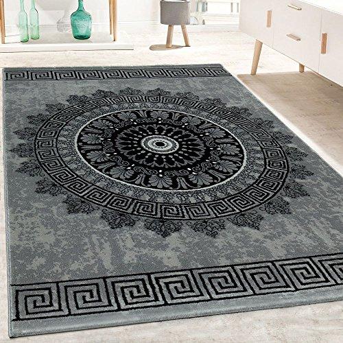Paco Home Designer Teppich Wohnzimmer Mandala Muster Kurzflor Barock Stil In Grau Schwarz, Grösse:120x170 cm