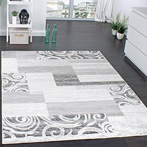 Paco Home Designer Teppich Wohnzimmer Teppich Kurzflor Muster in Grau Creme Preishammer, Grösse:80x150 cm