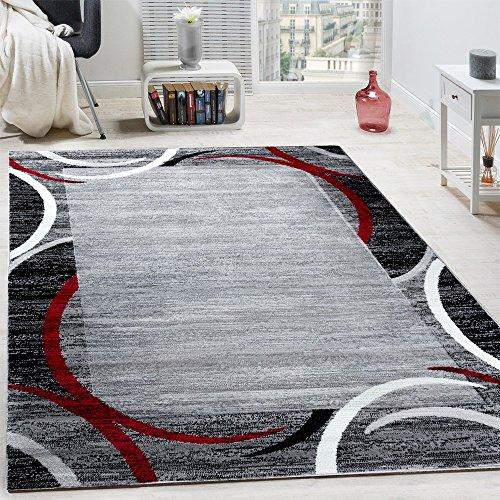 Paco Home Wohnzimmer Teppich Bordüre Kurzflor Meliert Modern Hochwertig Grau Schwarz Rot, Grösse:160x220 cm