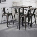Pharao24 Bartisch und Stühle im Industry Style Dunkelgrau aus Stahl (5-Teilig)