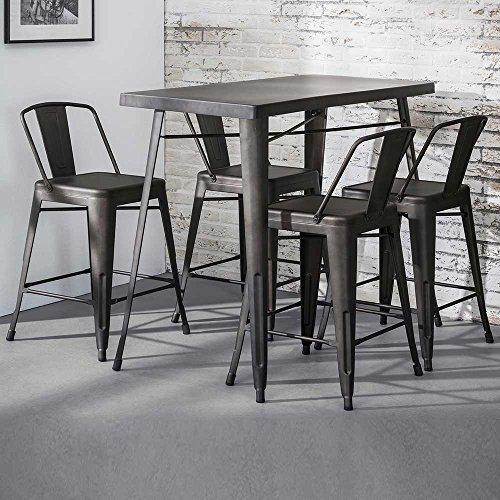 Pharao24 Bartisch und Stühle im Industry Style Dunkelgrau aus Stahl