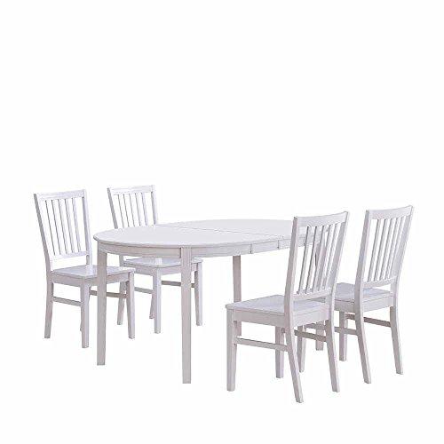 Pharao24 Essgruppe in Weiß mit ovalem Tisch (5-Teilig)