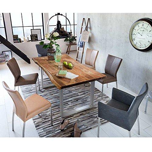 Pharao24 Essgruppe mit Baumkantentisch 6 Stühlen in Braun Schwarz (7-Teilig)