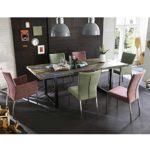 Pharao24 Essgruppe mit Bunten Stühlen Recyclingholz Tisch (7-Teilig)