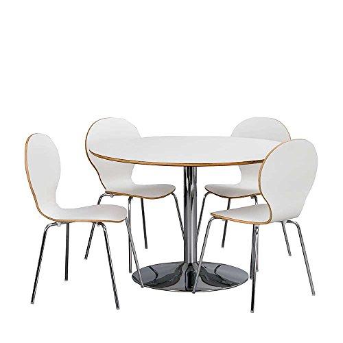 Pharao24 Essgruppe mit Rundem Tisch 4 Stühlen (5-Teilig)