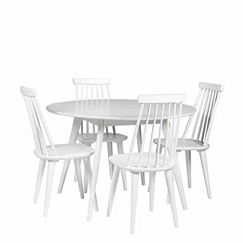 Pharao24 Essgruppe mit Rundem Tisch skandinavisch Weiß (5-Teilig)