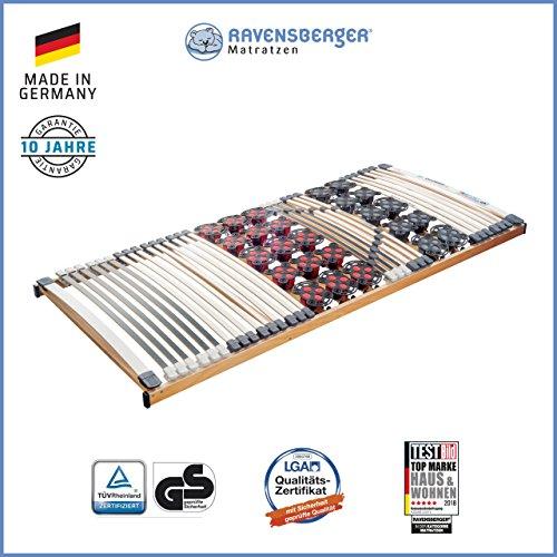 Ravensberger Matratzen Duomed® Lattenrost | 7-Zonen-Buche-Teller-Lattenrahmen | Teller und Leisten| Starr| MADE IN GERMANY - 10 JAHRE GARANTIE | TÜV/GS 90x200 cm